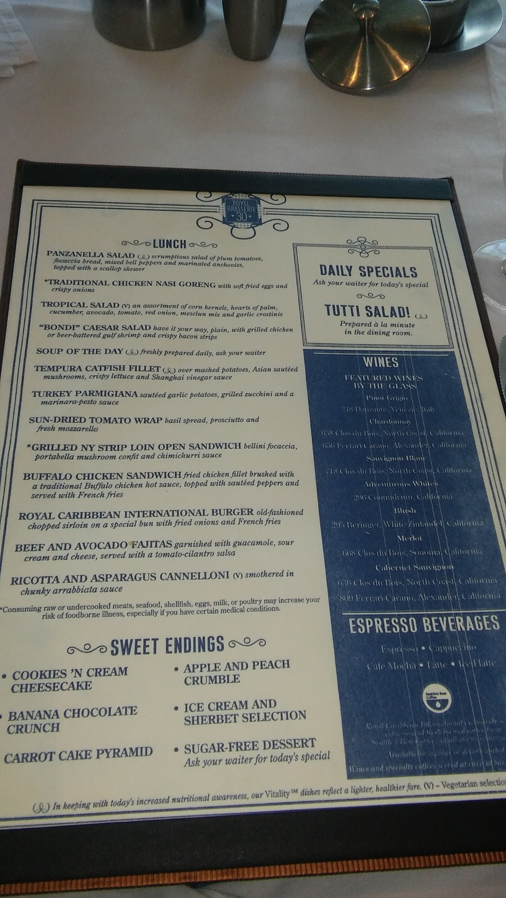 Dining Room Menu