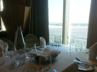 Dinner table by the window, really nice.