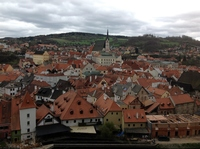 This is the view of the town in Cesky Kremlov that we saw as we stood on the upper castle grounds looking out. This castle and town was like a fairy tale!