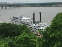 The American Queen from the bluffs above the River in Natchez
