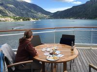 Sailing away from Kotor, Montenegro from our Penthouse Deck