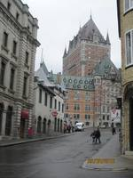 Beautiful Quebec, looking towards Chateau Frontenac before the torrential rains