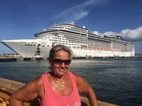 In Puerto Rico with the MSC Divina in the background