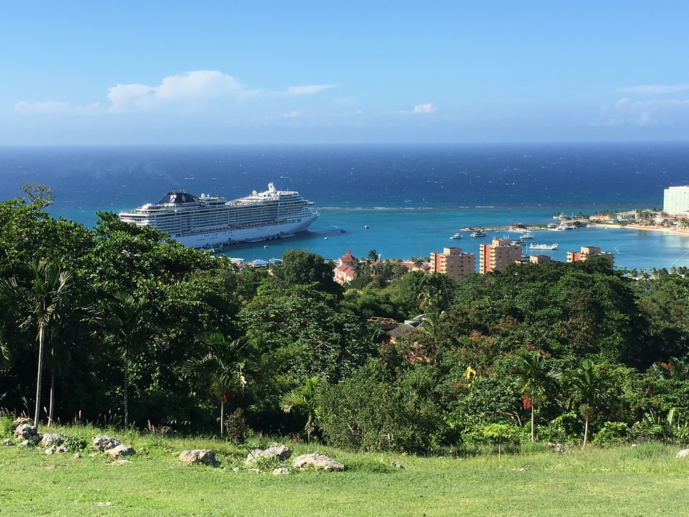 View from ocean on the ridge to port and ship