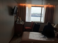 Cabin 6098 - lovely big window.noisy due to maintenance work on deck