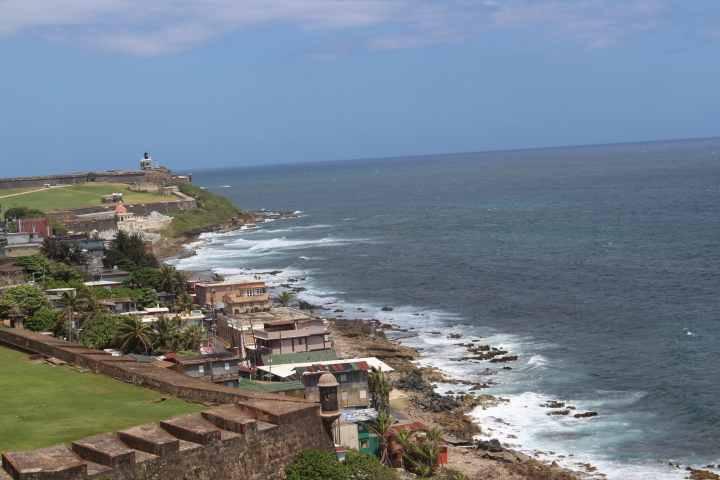 View from Castillo San Cristobal with Castillo San Felipe del Morro in the
