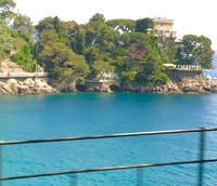 In Porto Fino, a shot of Silvio Burlasconis home