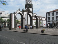 The entrance arches to the city. Ponta Delgada, Portugal.
