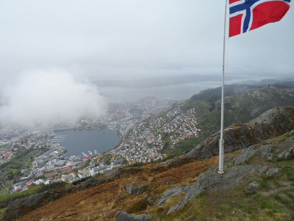 View of Bergen from Mount Floien after trip on Cable Car