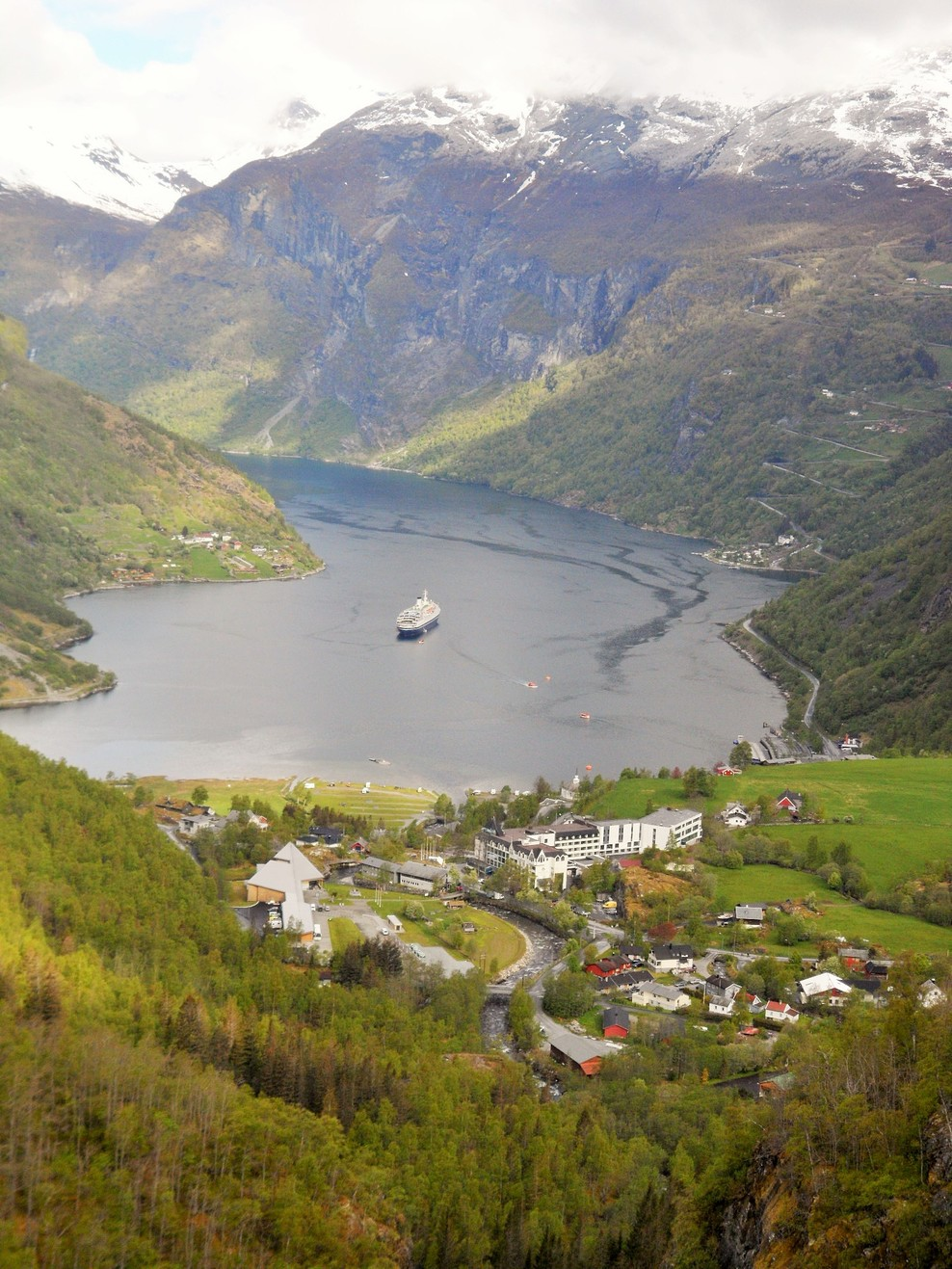 Geiranger Fjord looking down on the village of Geiranger with Marco Polo anchored just offshore.