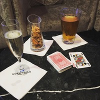 A pack of cards is a great past time whilst having a relaxing drink!