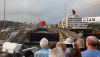 Entering Panama Canal lock