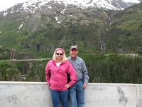 On the way from Skagway to Yukon Territory. Suspension bridge in the background