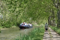 you can walk faster than the barge is travelling; biking along canal towpath is another option
