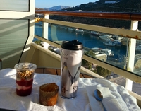 Breakfast on our balcony overlooking Chania Crete. Great breakfast choices