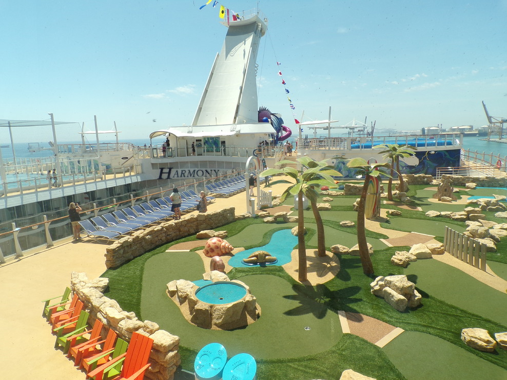 View of mini-golf and zip-line from Windjammer cafe
