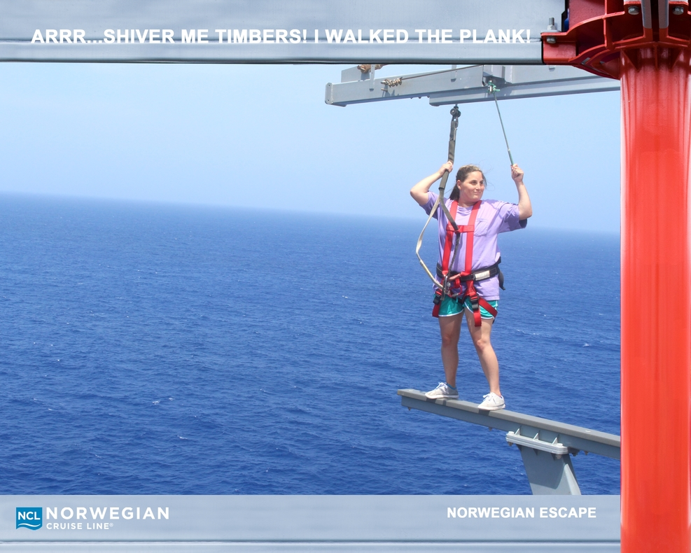 Walk the plank on top of ship over sea.