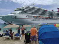 The Carnival Conquest from the beach in Grand Turk