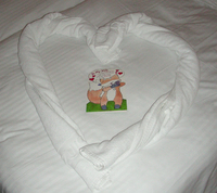 On Mothers Day our housekeeper saw the card I gave my wife and made a heart