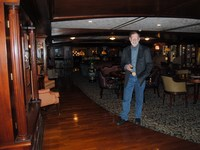 Hubby in one of the beautiful public rooms aboard the American Queen