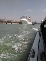 Picture form the water bus approaching the ship in Venice