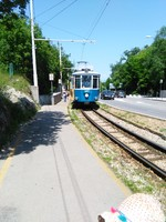 Self made tour up the tram at Trieste. This is the monument lookout stop. N