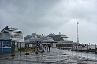 The Prinsendam (middle) dwarfed by ships from MSC and Princess in Tallinn E