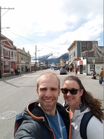 Downtown Skagway, you can see the Disney Wonder at the end of the street
