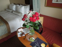 Our cabin, with embarkation roses for my wife
