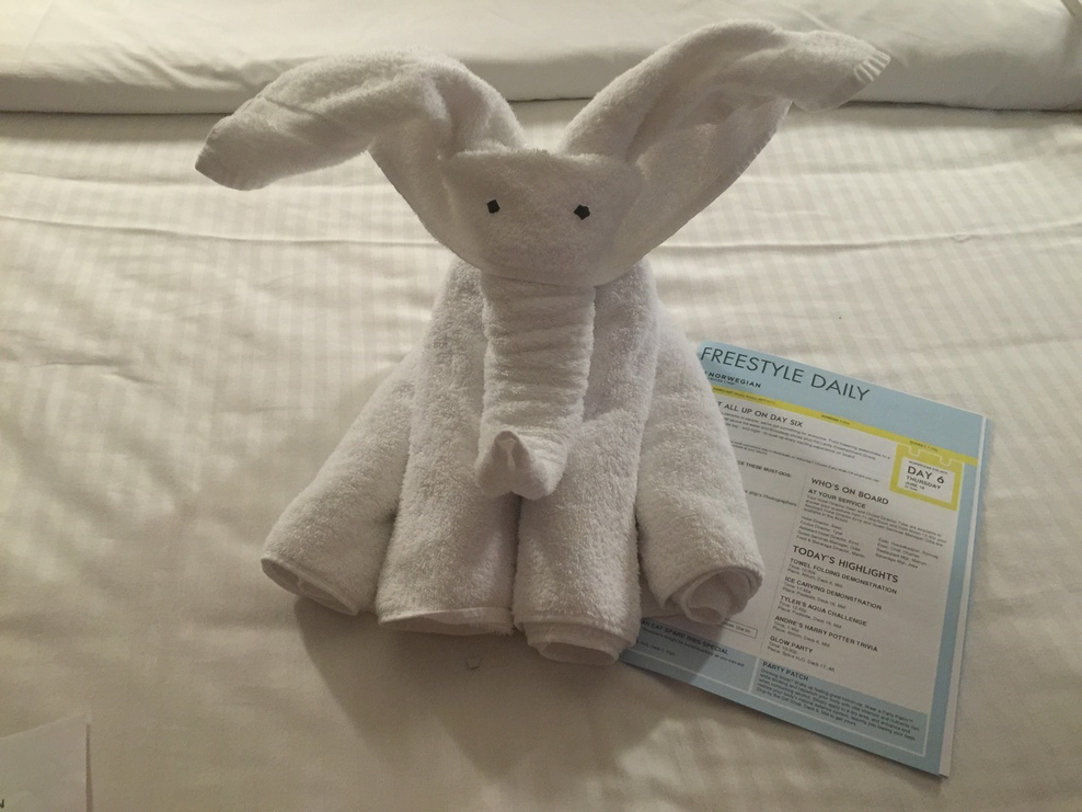 Elephant towel animal left by our room steward.