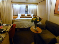 This is our stateroom #2598.  The flowers are from two dear neighbors and friends.  Thanks Melinda & Greg!