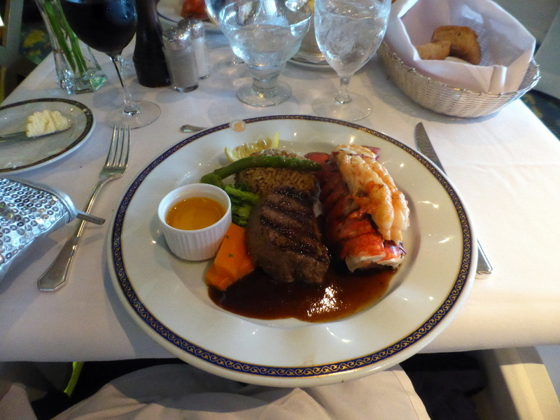 Here's my Surf & Turf Dinner plate in the MDR on a Gala Night.