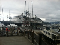 Docked at Sitka, Alaska. Between all the fishing boats.