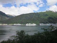 The Ms Amsterdam is the ship on the left in port at Juneau. I believe the R