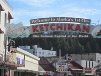 The welcome sign at Ketchikan. It rains 14' in Ketchikan annually. We d
