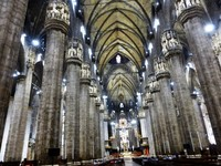 Inside the Duomo in Milan, Italy.