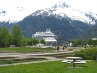 The Crown Princess, at the Ore Dock in Skagway