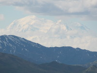 "Denali, the ""Great One"" from 70 miles away while touring Denali National Park"