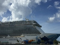 View of the ship while docked at Nassau.