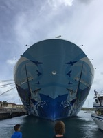 Front of the ship while docked in St. Thomas.