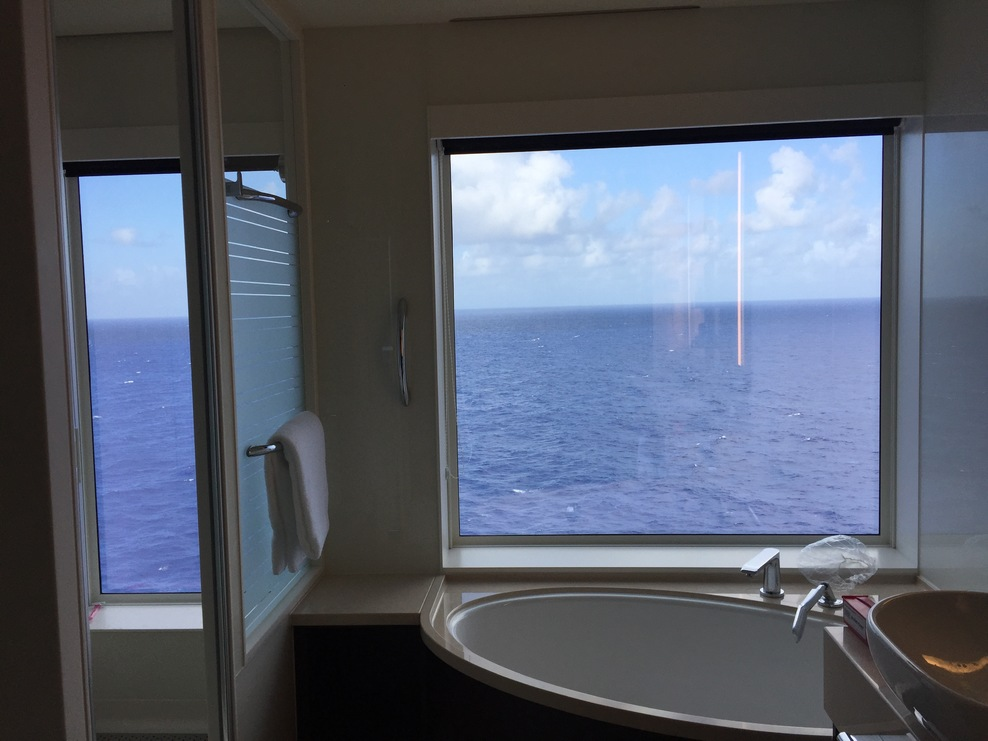 This is the view from the bathroom of the Haven's Deluxe Family Suite.