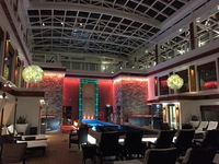 The Haven courtyard at night. When the canopy is closed, the courtyard is a