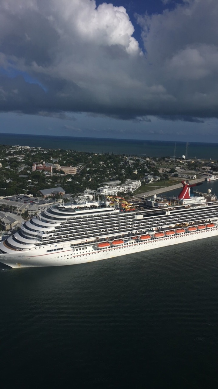 Carnival Breeze from a helicopter ride in Keywest Florida