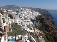Coastal walk from Thira to Firostefani and view of Caldera in Santorini