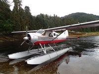 Arriving at Anan Creek via float plane.