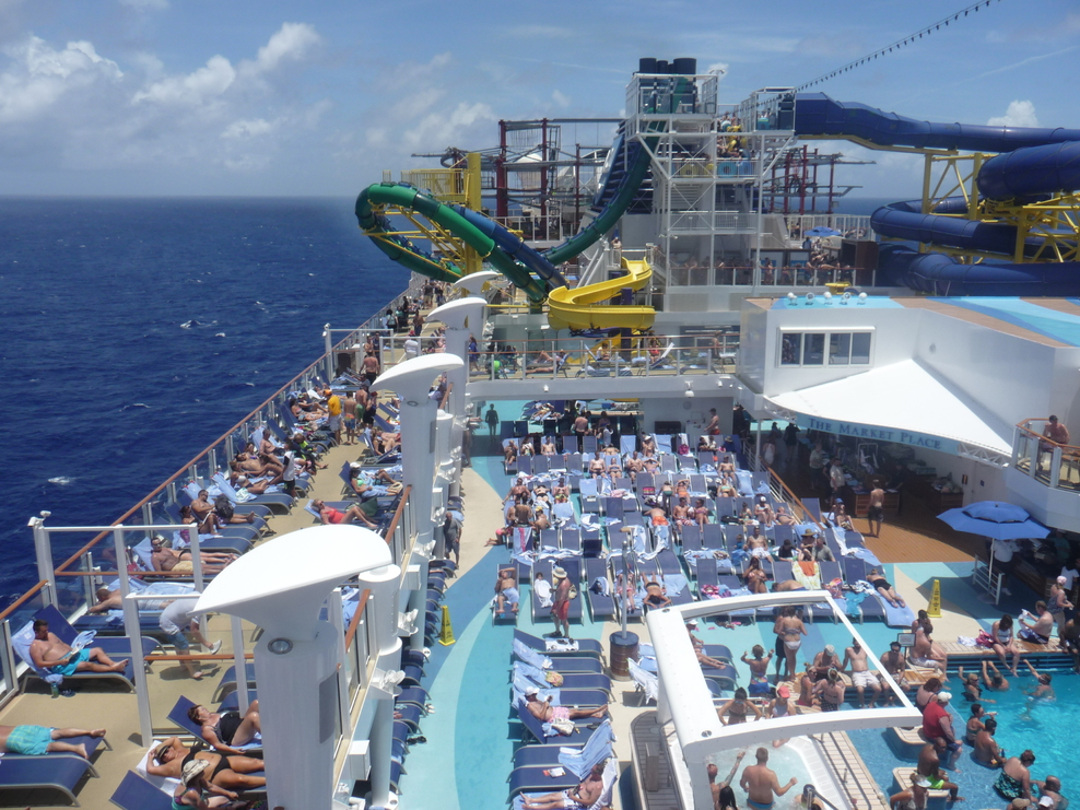 View of the Ship looking Aft. Foreground, pool area, Water slide