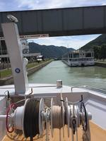 Entering a lock on the Main-Danube canal
