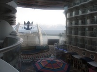view out the back of the ship from our cabin
