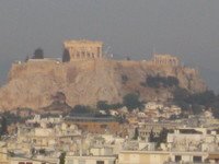 Acropolis view from our Athens, Greece Hilton Hotel.