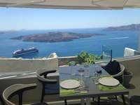 Lunch in Santorini- in the town of Fira. Beautiful restaurant